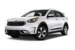 Stock pictures of low aggressive front three quarter view of a 2017 KIA Niro LX PHEV 5 Door Hatchback