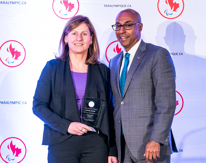 Highlights from the awards luncheon at the CPC Paralympic Summit 2018 at the Palliser Hotel in Calgary, Alberta on November 15, 2018. Mollie Jepsen takes home the best female athlete award, accepted by her mother.