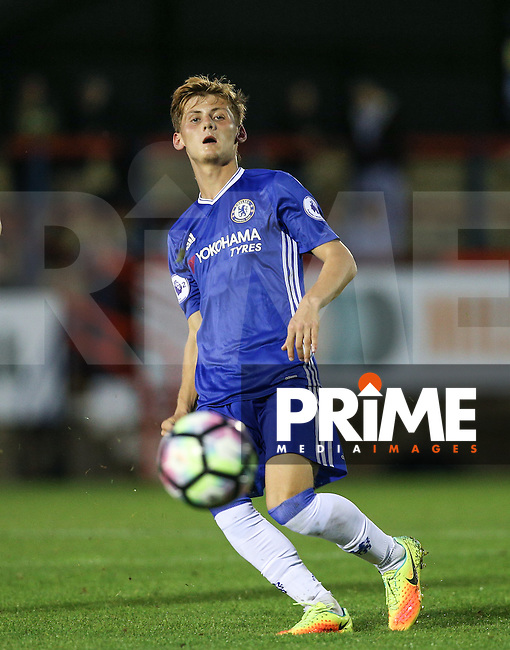 Kyle Scott of Chelsea in action during the EPL2 - U23 - Premier League 2 match between Chelsea and Liverpool at the EBB Stadium, Aldershot, England on 22 August 2016. Photo by Andy Rowland.