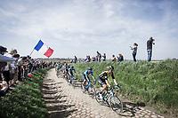 Peloton on the cobbles of sector 25.<br /> <br /> 116th Paris-Roubaix (1.UWT)<br /> 1 Day Race. Compiègne - Roubaix (257km)