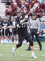 Washington, DC - April 7, 2018: Providence Friars Tim Hinrichs (17) in action during game between Providence and Georgetown at  Cooper Field in Washington, DC.   (Photo by Elliott Brown/Media Images International)