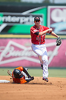 Blake Miller (21) of the Richmond Flying Squirrels follows through on his throw to first base as Quincy Latimore (22) of the Bowie Baysox attempts to break up the double play at The Diamond on May 24, 2015 in Richmond, Virginia.  The Flying Squirrels defeated the Baysox 5-2.  (Brian Westerholt/Four Seam Images)