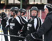 Nick Saracino (PC - 18), Ross Mauermann (PC - 14), Jamie Russell (PC - Assistant Coach) -  - The participating teams in Hockey East's first doubleheader during Frozen Fenway practiced on January 3, 2014 at Fenway Park in Boston, Massachusetts.
