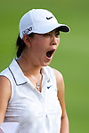 CHON BURI, THAILAND - FEBRUARY 17:  Michelle Wie of USA yawns on the 18th hole during day one of the LPGA Thailand at Siam Country Club on February 17, 2011 in Chon Buri, Thailand. Photo by Victor Fraile / The Power of Sport Images