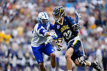 FOXBORO, MA - MAY 28: Tim Towler (22) of Merrimack College with the ball during the Division II Men's Lacrosse Championship held at Gillette Stadium on May 28, 2017 in Foxboro, Massachusetts. (Photo by Larry French/NCAA Photos via Getty Images)