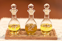 The Oil of the Infirm (Oleum Infirmorum), the Holy Chrism (Sacrum Chrisma), and the Oil of Catechumens (Oleum Catechumenorum or Oleum Sanctorum)