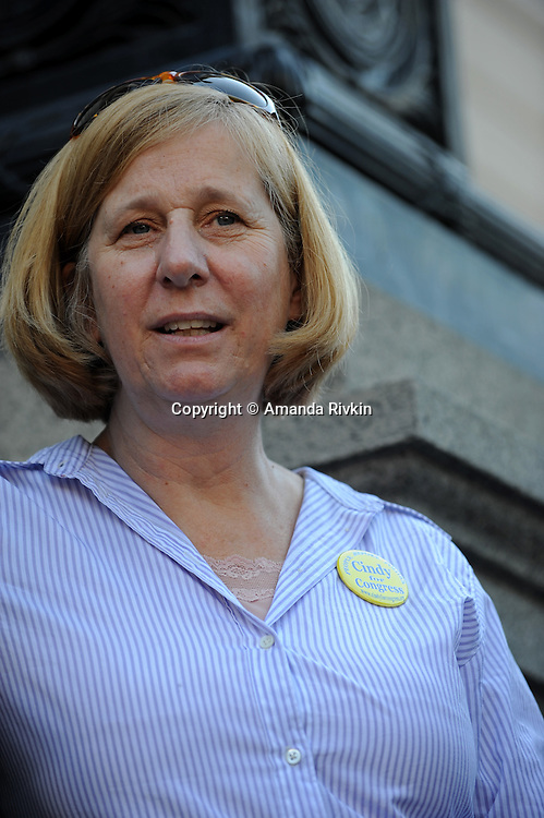 Cindy Sheehan during a demonstration in Civic Center Park ahead of the Democratic National Convention in downtown Denver, Colorado on August 24, 2008.  The Democratic National Convention officially gets underway Monday August 25, 2008.