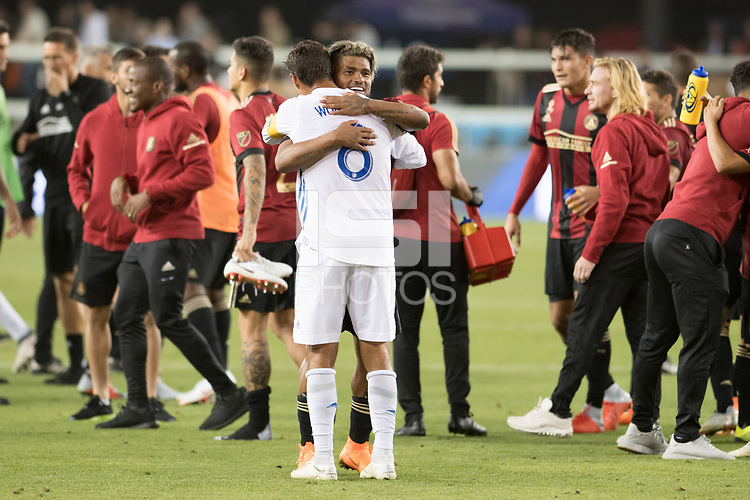San Jose, CA - Wednesday September 19, 2018: Josef Martinez, Chris Wondolowski during a Major League Soccer (MLS) match between the San Jose Earthquakes and Atlanta United FC at Avaya Stadium.