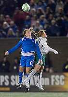Boston Breakers defender Kasey Moore (17) and St Louis Athletica midfielder Lori Chalupny (17) battle for head ball. The Boston Breakers defeated Saint Louis Athletica, 2-0, at Harvard Stadium on April 11, 2009.