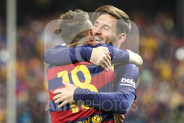 FC Barcelona's Jordi Alba and Leo Messi during Spanish Kings Cup Final match. May 22,2016. (ALTERPHOTOS/Rodrigo Jimenez)