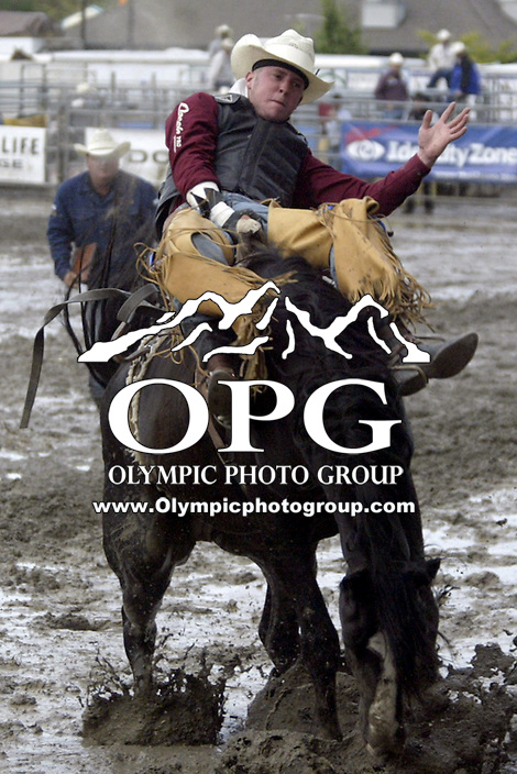 20 August 2008:   Tilden Hooper from Carthage, Texas riding the horse After Midnight scored a 86 at the Kitsap County Stampede Rodeo in Bremerton, Washington.