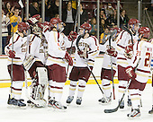 Bill Arnold (BC - 24), Parker Milner (BC - 35), Tommy Cross (BC - 4), Patrick Wey (BC - 6), Brian Dumoulin (BC - 2), Steven Whitney (BC - 21) - The Boston College Eagles defeated the Merrimack College Warriors 4-2 to give Head Coach Jerry York his 900th collegiate win on Friday, February 17, 2012, at Kelley Rink at Conte Forum in Chestnut Hill, Massachusetts.
