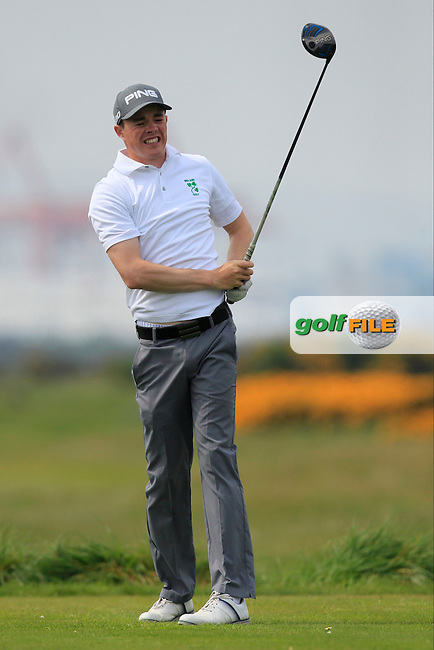 Stuart Grehan (Tullamore) on the 3rd tee during the Flogas Irish Amateur Open Championship Am-Am at Royal Dublin on Monday 9th May 2016.<br /> Picture:  Thos Caffrey / www.golffile.ie