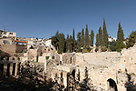 Israel, Jerusalem, The Pool of Bethesda, ruins of a Roman temple and a Byzantine church can be seen here<br />
