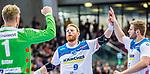 Siegerpose: Spaeth, Manuel (TVB Stuttgart #9) / Bitter, Johannes (TVB Stuttgart #1) / Roethlisberger, Samuel (TVB Stuttgart #17) / TVB 1898 Stuttgart - HSG Nordhorn Lingen / HBL / LIQUI MOLY 1.Handball-BundesligaSCHARRena / Stuttgart Baden-Wuerttemberg / Deutschland <br /> <br /> Foto © PIX-Sportfotos *** Foto ist honorarpflichtig! *** Auf Anfrage in hoeherer Qualitaet/Aufloesung. Belegexemplar erbeten. Veroeffentlichung ausschliesslich fuer journalistisch-publizistische Zwecke. For editorial use only.