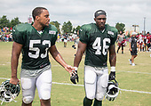 New York Jets linebacker Kevin Minter (53) and New York Jets linebacker Neville Hewitt (46) walk off the field after participating in a joint training camp practice with the Washington Redskins at the Washington Redskins Bon Secours Training Facility in Richmond, Virginia on Monday, August 13, 2018.<br /> Credit: Ron Sachs / CNP<br /> (RESTRICTION: NO New York or New Jersey Newspapers or newspapers within a 75 mile radius of New York City)