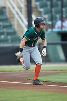Kyle Mottice (5) of the Greensboro Grasshoppers hustles down the first base line against the Kannapolis Intimidators at Kannapolis Intimidators Stadium on July 9, 2019 in Kannapolis, North Carolina. The Grasshoppers defeated the Intimidators 5-4. (Brian Westerholt/Four Seam Images)
