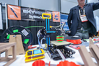 The Skywriter 3d desktop 3d printer domonstrated at the 113th North American International Toy Fair in the Jacob Javits Convention center in New York on Sunday, February 14, 2016.  The four day trade show with over 1000 exhibitors connects buyers and sellers and draws tens of thousands of attendees.  The toy industry generates over $84 billion worldwide and Toy Fair is the largest toy trade show in the Western Hemisphere. (© Richard B. Levine)