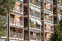"Milano, quartiere Bovisa, periferia nord. La ""Casa Ecologica"" sull'area dell'ex Armenia Films (Milano Films - prima casa di produzione cinematografica italiana del primo novecento) --- Milan, Bovisa district, north periphery. The ""ecological house"" on the area of former Armenia Films (Milano Films - Italy's first film production company from the early twentieth century)"
