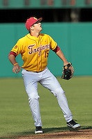 James Roberts (15) of the USC Trojans during a game against the Jacksonville Dolphins at Dedeaux Field on February 19, 2012 in Los Angeles,California. USC defeated Jacksonville 4-3.(Larry Goren/Four Seam Images)