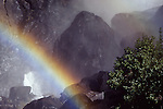 rainbow in waterfall at Yosemite National Park