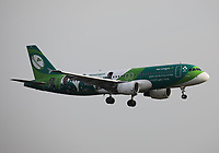 An Aer Lingus Airbus 320-214 Registration EI-DEO named St Senan / Seanan in Irish Rugby team livery landing on runway 09L at London Heathrow Airport on 3.8.19 arriving from Dublin Airport, Ireland.