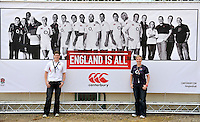 Drybrook, England. Katie and Jo Sully O2 winners during the RFU and Canterbury Official launch of the new season's England kit at Drybrook RFC Mannings Ground, Gloucestershire, England on September 19, 2012