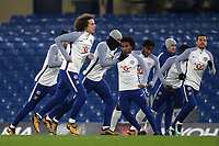 David Luiz trains on the pitch after the match with some other Chelsea players during Chelsea vs Arsenal, Caraboa Cup Football at Stamford Bridge on 10th January 2018