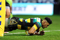 Luther Burrell of Northampton Saints crosses the try-line. Aviva Premiership match, between Northampton Saints and Sale Sharks on December 23, 2016 at Franklin's Gardens in Northampton, England. Photo by: Patrick Khachfe / JMP