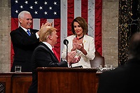 FEBRUARY 5, 2019 - WASHINGTON, DC: President Donald Trump delivered the State of the Union address, with Vice President Mike Pence and Speaker of the House Nancy Pelosi, at the Capitol in Washington, DC on February 5, 2019. <br /> CAP/MPI/RS<br /> &copy;RS/MPI/Capital Pictures
