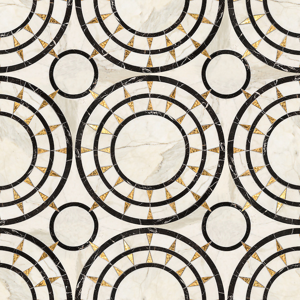 Mireille, a waterjet mosaic shown in honed 24K Gold Glass, Calacatta and Saint Laurent, is part of the Aurora™ Collection by Sara Baldwin for New Ravenna.
