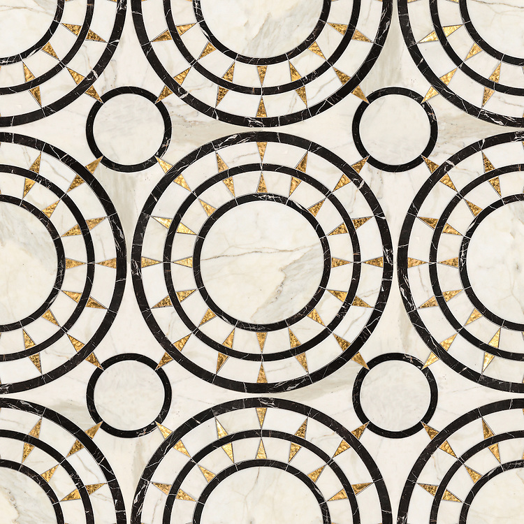 Mireille, a waterjet mosaic shown in honed 24K Gold Glass, Calacatta and Saint Laurent, is part of the Aurora® collection by Sara Baldwin for New Ravenna.