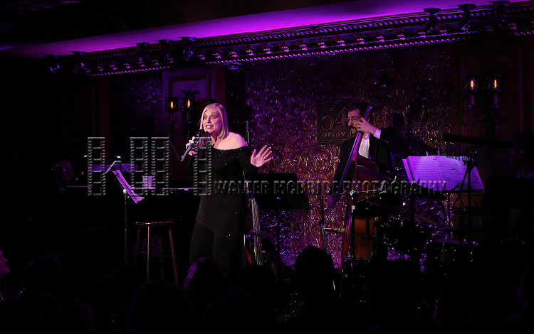 """Roslyn Kind with her band Dan Gross on drums, Jered Egan on Bass and Alex Rybeck on Piano and  Musical Director performing her new show """"It's Been a While""""  at 54 Below on April 6, 2014 in New York City."""