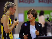 Pulse captain Katrina Grant thanks coach Robyn Broughton after her last Wellington game in charge following the ANZ Netball Championship match between the Central Pulse and Mainland Tactix at Te Rauparaha Arena, Wellington, New Zealand on Saturday, 11 May 2015. Photo: Dave Lintott / lintottphoto.co.nz