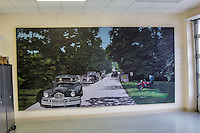 A mural at the Route 66 visitor center and chamber of commerce in Webb City Missouri on Route 66.  The mural was painted by Mayor John Biggs in 2010.