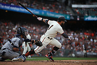 SAN FRANCISCO, CA - APRIL 5:  Kevin Pillar #1 of the San Francisco Giants bats against the Tampa Bay Rays during the game at Oracle Park on Friday, April 5, 2019 in San Francisco, California. (Photo by Brad Mangin)