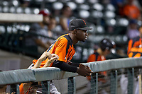 Robert Antunez (34) of the AZL Giants watches the action from the dugout during a game against the AZL Cubs on September 6, 2017 at Sloan Park in Mesa, Arizona. AZL Giants defeated the AZL Cubs 6-5 to even up the Arizona League Championship Series at one game a piece. (Zachary Lucy/Four Seam Images)