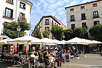 Pavement street cafe in Plaza de San Ildefonso square, Malasana, Madrid city centre, Spain