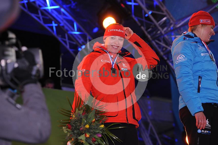 SCHAATSEN: AMSTERDAM: Olympisch Stadion, 28-02-2014, KPN NK Sprint/Allround, Coolste Baan van Nederland, podium Dames Allround 500m, Marije Joling, ©foto Martin de Jong