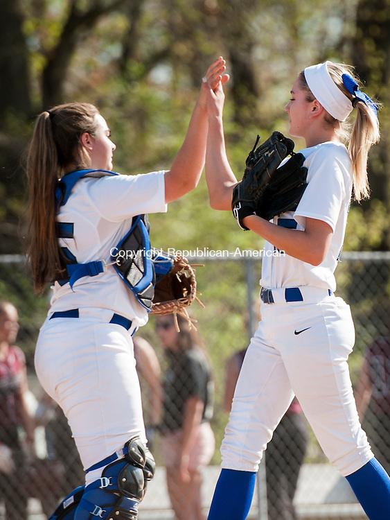 SOUTHINGTON, CT-7 May 2015-050715EC06-  Southington's catcher (L) Ellen Scafariello gives a hi-five to pitcher Kendra Friedt Thursday in Southington. Erin Covey Republican-American