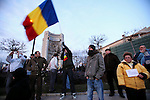 January 15, 2012, University square, Bucharest, Romania. Protests in support of Dr Raed Arafat, who resigned after opposing government measures to privatize part of Romanian health system, have widened to express general discontent against government spending cuts.