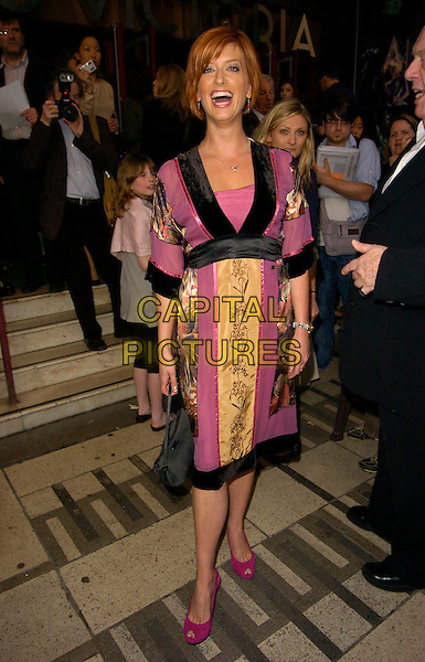 "CAROLINE FARADAY   .The ""Wicked"" cast change VIP press night at the Apollo Victoria Theatre, London, England..April 12th, 2007.full length black purple gold dress.CAP/CAN.©Can Nguyen/Capital Pictures"