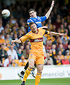 RANGERS' KYLE LAFFERTY GETS ABOVE MOTHERWELL'S STEPHEN CRAIGAN
