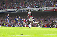 Premiership Football - Arsenal v Leicester City:.2003/04 Season - 15/05/2004  [Record breaking Season undefeated] .Patrick Vieira, run's in to score his first goal, to make the 2-1.[Credit] Peter Spurrier Intersport Images