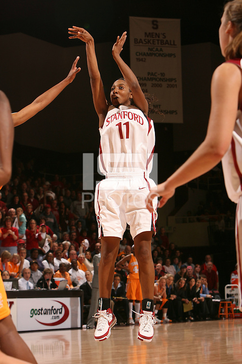 22 December 2007: Candice Wiggins hits a three-pointer during Stanford's 73-69 win over Tennessee at Maples Pavilion in Stanford, CA.