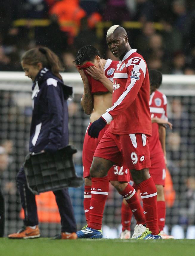 Dejected Queens Park Rangers' Djibril Cisse ..Football - Barclays Premiership - Tottenham Hotspur v Queens Park Rangers - Sunday 23rd September 2012 - White Hart Lane - London..