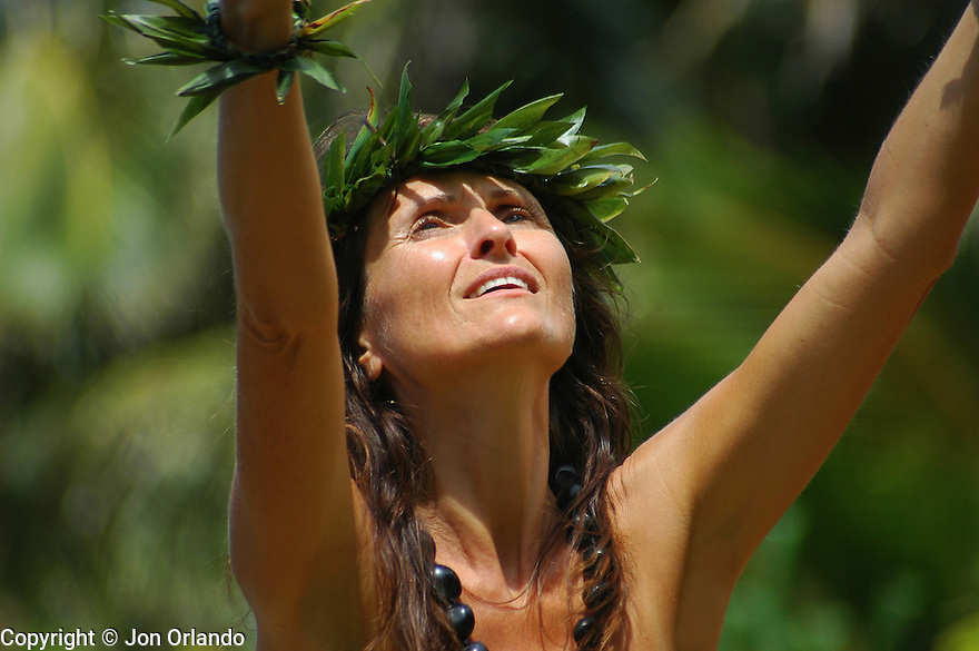 Hula dancer on the island of Kauai, Hawaii.  Shot on location for Idanha Films.