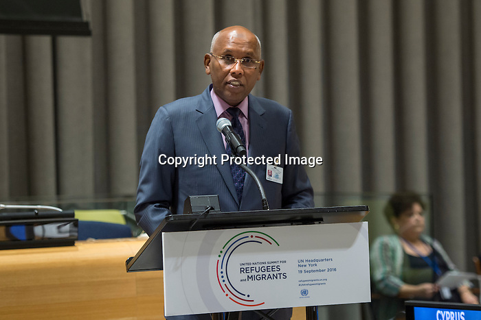 General Assembly Seventy-first session High-level plenary meeting on addressing large movements of refugees and migrants.<br /> <br /> <br /> Republic of Djibouti