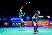 17th March 2018, Arena Birmingham, Birmingham, England; Yonex All England Open Badminton Championships; Kamilla Rytter Juhl (DEN) and Christinna Pedersen (DEN) in their semi-final match against Mayu Matsumoto (JPN) and Wakana Nagahara (JPN)
