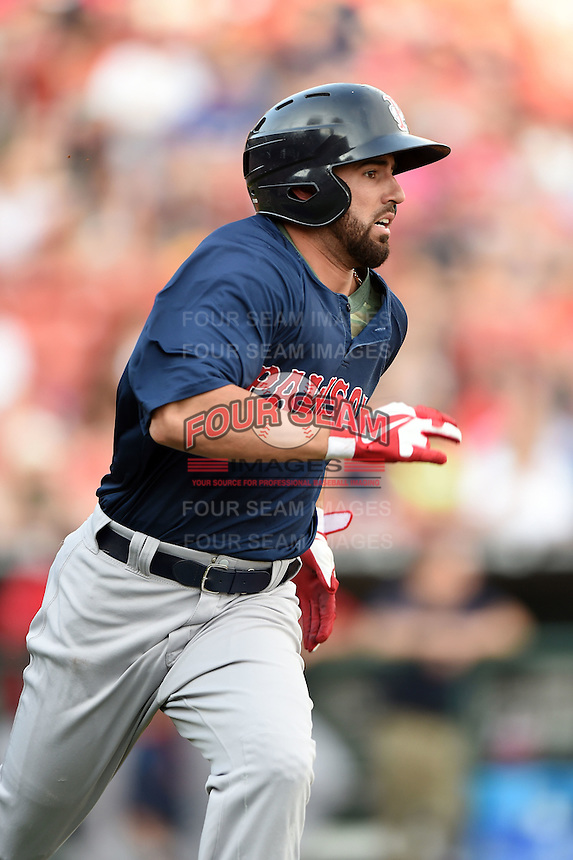Pawtucket Red Sox shortstop Deven Marrero (29) runs to first during a game against the Buffalo Bisons on August 26, 2014 at Coca-Cola Field in Buffalo, New  York.  Pawtucket defeated Buffalo 9-3.  (Mike Janes/Four Seam Images)